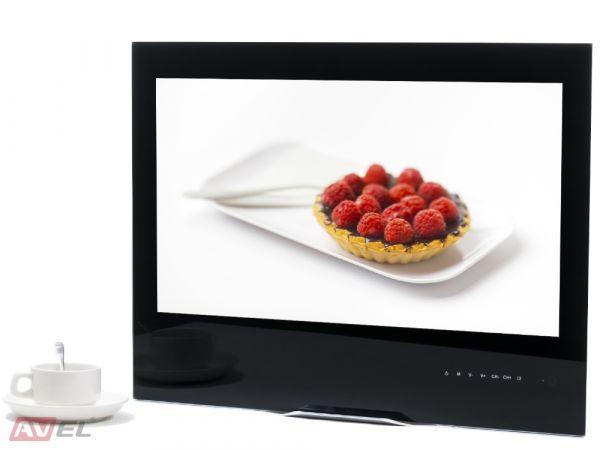 Встраиваемый телевизор для кухни AVS240K (черная рамка)