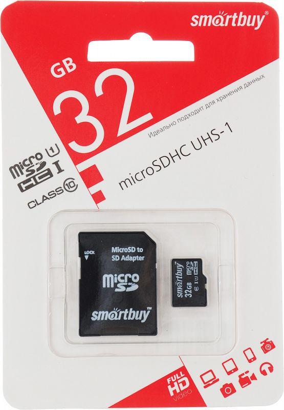 Карта памяти 32GB microSDHC Class10 без адаптера SMARTBUY