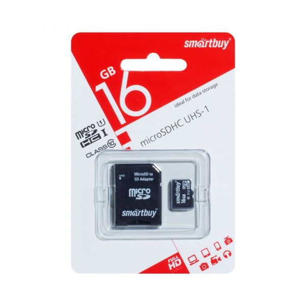 Карта памяти 16GB microSDHC Class10 SMARTBUY