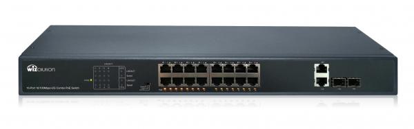 Неуправляемый EX-PoE коммутатор на 16 портов FE PoE и 2 GbE COMBO порта WZNN-SW.16.EP.250.0