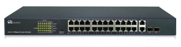 Неуправляемый EX-PoE коммутатор на 24 PoE порта и 2 GbE COMBO порта WZNN-SW.24.EP.370.0
