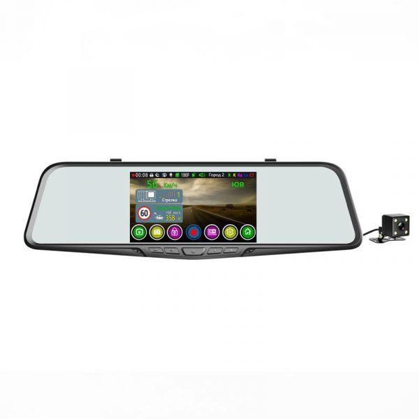 Автомобильный видеорегистратор зеркало Eplutus GR-51 c двумя камерами, GPS информатором и антирадаром