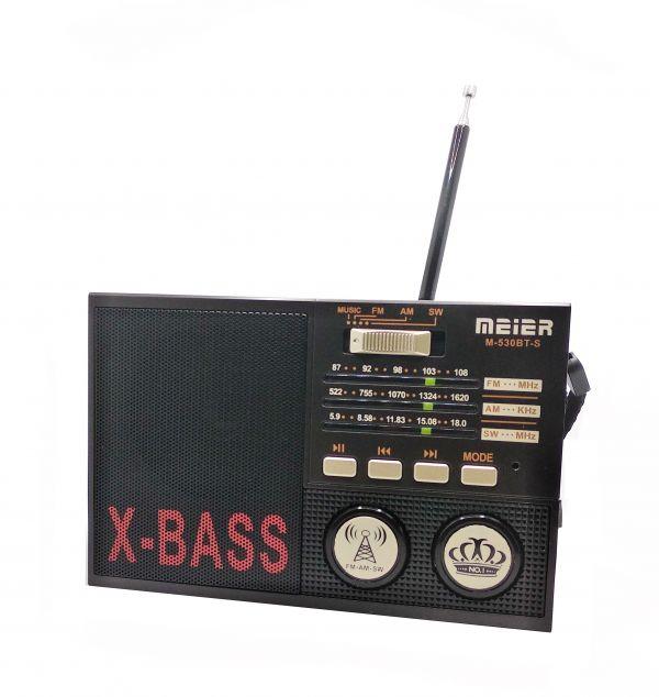Радиоприемник Meier M-530BT-S Bluetooth\USB\microSD\Фонарь\с Солнечной батареей