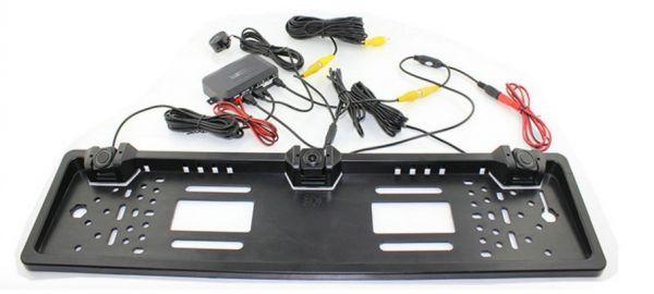 Камера заднего вида XPX CCD808 парктроник в рамке номера