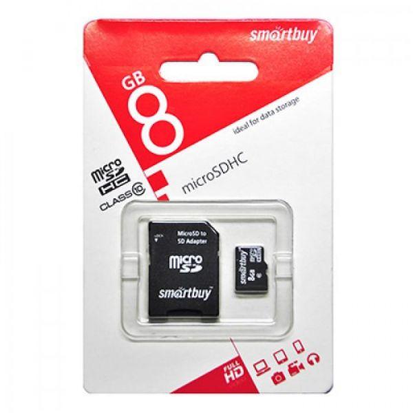 Карта памяти 8GB microSDHC Class10 SMARTBUY