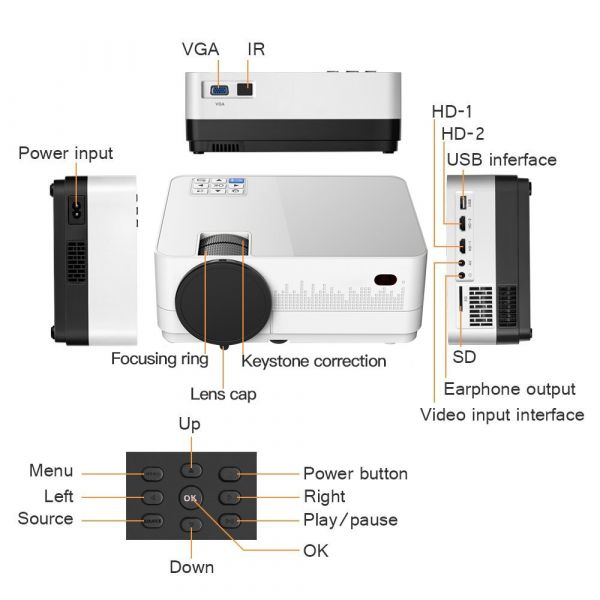 Проектор LED Home Cinema HQ-4 Android