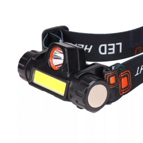 Налобный фонарик АКБ HT-772 LED + COB