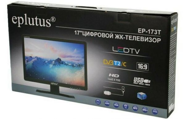 "Цифровой телевизор Eplutus EP-173T DVB-T2/DVB-C 17"""