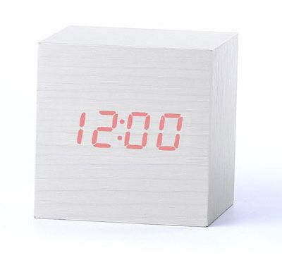 Деревянные часы Wooden Clock VST-869-1 white с термометром