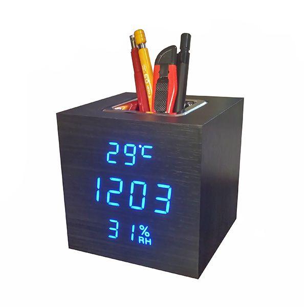 Деревянные часы VST-878S-5 в виде подставки для ручек (подставка органайзер) с термометром