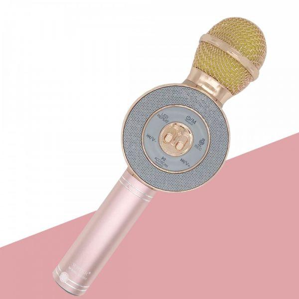 Bluetooth микрофон караоке с динамиками Wster WS-668 Rose Gold