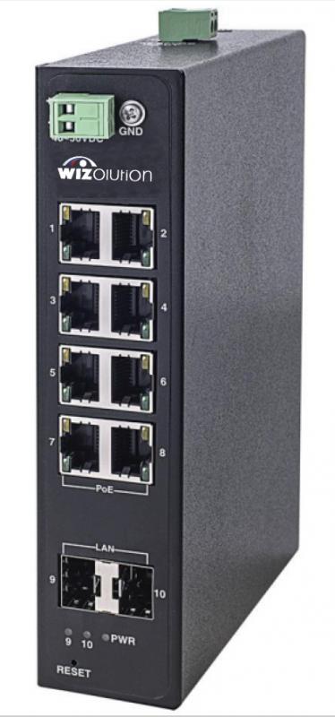 Промышленный смарт коммутатор 8 портов PoE 30 Вт и 2 порта SFP WZHN-SW.08.PE.240.0